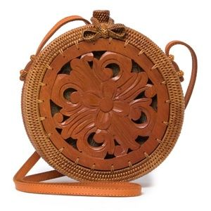 'Heidi' Wood Carved Floral Rattan Crossbody